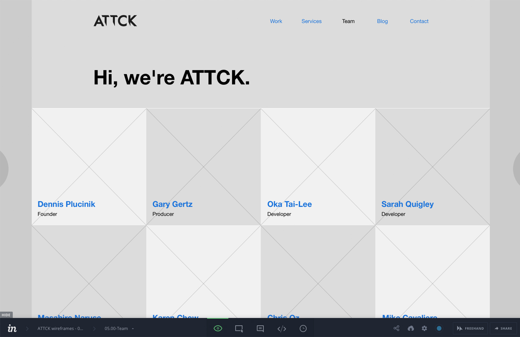 wireframe of ATTCK.com's team page